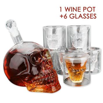 1Set 3D Transparent Skull Shot Glass Crystal Head Cup For Whiskey Home Bar Drinking Ware Man Gift Cup Vodka Wine Pot
