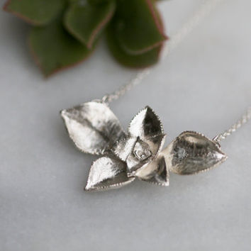 """succulent bloom necklace in sterling silver """"Autumn leaves"""""""