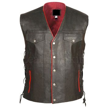 Mens Biker Black Gun Club Leather Vest
