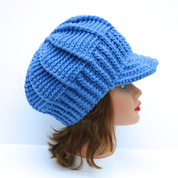 Crochet Newsboy Hat - Robin Blue Hat With Brim - Women's Cap - Brimmed Beanie - Visor Beanie - Brim Hat - Crochet Accessories