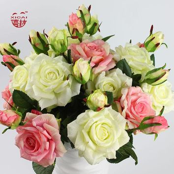 7/9/11/15 PCS Purchase Single-Side Latex Coating Home/Wedding Decoration Flower Decorative Real Touch Artificial Rose Flowers