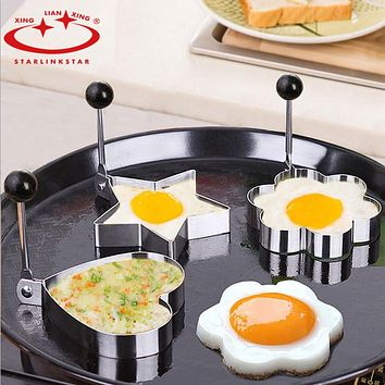 4pcs/lot Egg Mold Stainless Steel Round Flower Heart egg pancake Ring Biscuit Frying Egg Rings Mould Cooking Breakfast Tools