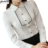 Fashion Business women shirt OL 2016 autumn long sleeve clothing chiffon blouse office ladies plus size tops work wear uniforms