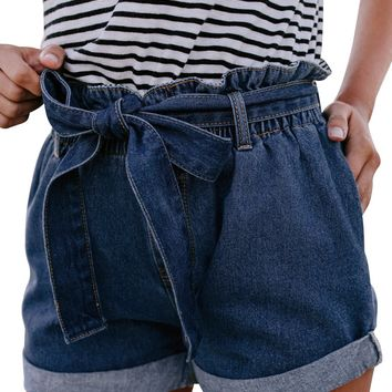 Women Medium Blue Roll Hem Paper Bag Waist Denim Shorts