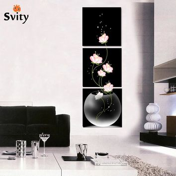 3 Pcs popular Modern canvas Wall Painting abstract Flowers Modular  Picture wedding decoration for living room HD Print no frame