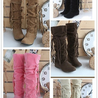 Womens Lady Fashion Faux Suede Slouchy Boho Fringe Mid Calf Boot Flat Heel Shoes = 1946965764
