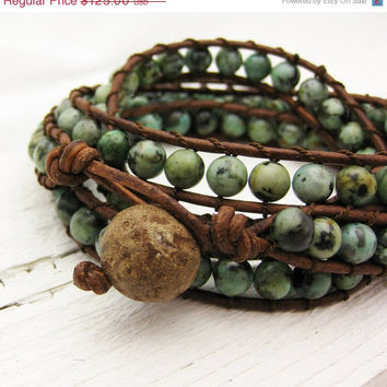 CIJ SALE - 10 percent OFF African Turquoise Leather 4x Wrap Bracelet / bohemian green mint natural woodland garden fresh fashion summer spr