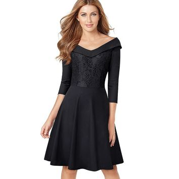 Women Elegant Lace Embroidery Floral Vintage Turn-Down Collar Slim Tunic Casual Work Party Fit Flare A-line Dress EA068