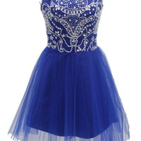 Dressystar Short Blue Prom Evening Prom Dresses