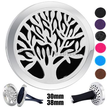 30mm-38mm Silver Tree of Life Magnet Diffuser 316 Stainless Steel Car Aroma Locket drop ship Essential Oil Car Diffuser Lockets