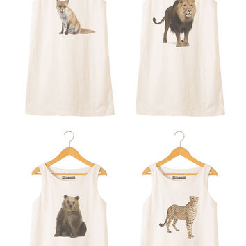 Animal-7 Printed Vintage 100% Cotton Linen Mini Shift Dress WDS_01