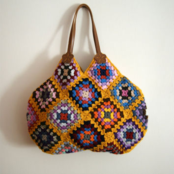 $95.00 Mustard Crochet granny square bag by knittingcate on Etsy