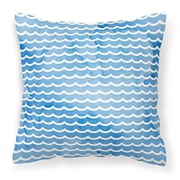 Beach Watercolor Waves Fabric Decorative Pillow BB7531PW1414