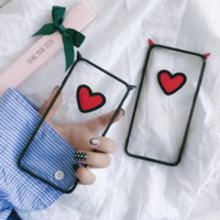 Original Small Devil Horns Heart Embroidery Case For iPhone 7 7Plus Case