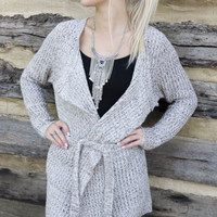 Bradbury Mountain Taupe Long Sleeve Sweater Cardigan With Waist Tie