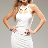 White Sexy Cut Out Mini Dress - Diva Hot Couture