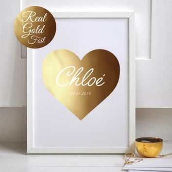 Custom Name, Gift For Nurse, Real Gold Foil Print, Custom Name Print, Gift For Kids, Gold Nursery Decor, Nursery Art, Custom Gold Foil Print