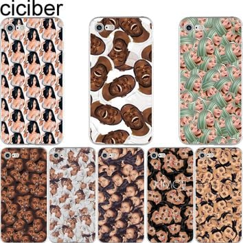 ciciber Funny Kimoji Kanye West Kardashian Pattern Soft Silicon Phone Cases Cover for IPhone 6 6S 7 8 Plus 5S SE X Capinha Coque