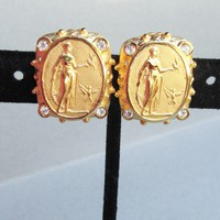 Etruscan Revival Vintage Irish Goddess CLIODHNA Cameo & Rhinestone Earrings