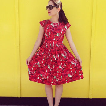Bridesmaids dress tea dress 1940s style cap sleeve poppy print floral print summer wedding colourful bright