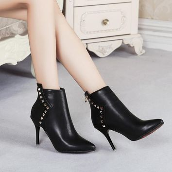 Pu Leather Women Sexy Ankle Boots High Heels