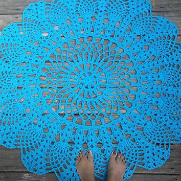 "Turquoise Cotton Crochet Rug in Large 42"" Circle Pineapple Lacy Pattern"