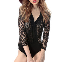 Lace Bodice Long Sleeve Bodysuit
