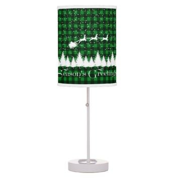 Santa's Christmas Sleigh Green Table Lamp