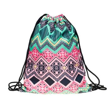 Polyester Vintage Retro Pattern Drawstring Bags Cinch String Backpack Funny Funky Cute Novelty