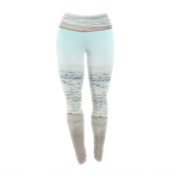 "Monika Strigel ""The Sea"" Blue Coastal Yoga Leggings"