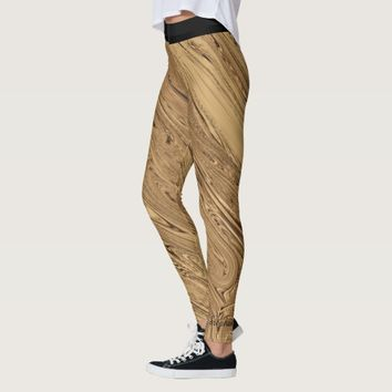 Liquid Gold Leggings with Black Waistband