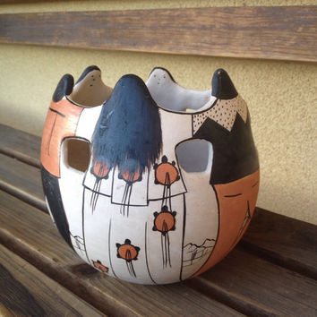 Angea Tohono O'odham Vase,  Friendship Vase, Native American Pottery, Angea Friendship Vase, Tribal Pottery, O'odham Pottery, Tribal Vase,