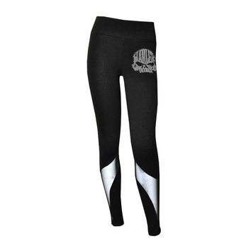 Harley-Davidson Women's Leggings, Rhinestone Willy Skull & Mesh Details, Black