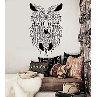 Vinyl Wall Decal Owl Feathers Dream Catcher Bedroom Decor Stickers Unique Gift (ig4008)