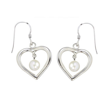 Dangle Earrings White Pearl Open Heart Design .925 Sterling Silver
