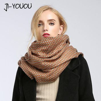 winter ladies scarves women high fashion 2017 red plaid scarf ponchos capes crinkle hijab warm cotton women's knit wool scarf
