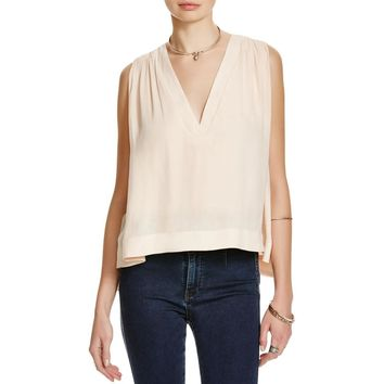 Free People Womens Darcy V-Neck Sleeveless Blouse