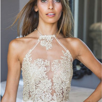Beige Halter Neck Floral Embroidery Lace Top