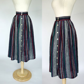 1980s Mexican inspired striped print knit linen rayon skirt Small, 6