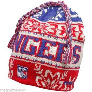 New York Rangers Men's Reebok Cuffless Knit Hat with Braids
