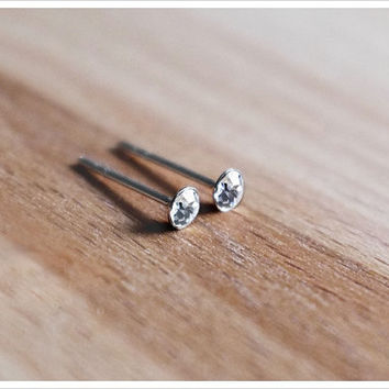 Mini Round CZ Stud Earrings 3mm - Sterling Silver CZ Diamond Studs - Simple Minimalist Everyday Jewelry LITTIONARY