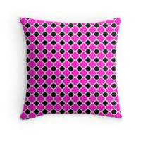 Hot Pink Black and White Quatrefoil Pattern by TigerLynx