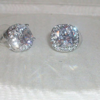 HUGE Cushion/Fantasy Cut Square CZ Fashion Earrings with Clear Crystal Halo