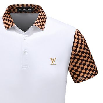 LV Shirt Louis Vuitton Men Top Shirt Contrast Tartan Sleeve Neck Button Tee Shirt B-A00FS-GJ White