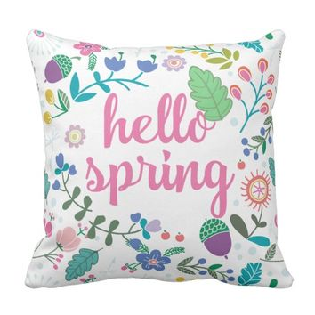 Hello Spring with Floral Art Throw Pillow