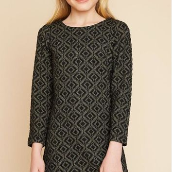 Hayden Black Jacquard Dress