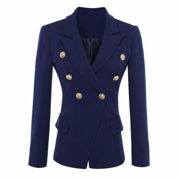 Navy Blue Gold Buttons Double Breasted Women  Blazers