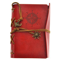 OULII Vintage Pirate Anchor Leather Loose-leaf String Bound Notebook Notepad Journal Diary