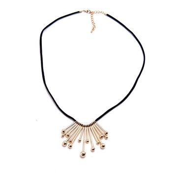 Drum Stick Necklace - Black/Gold