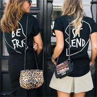 "Hot Fashion Black White Print Letters ""Best Friend"" Tee Shire Top Black"